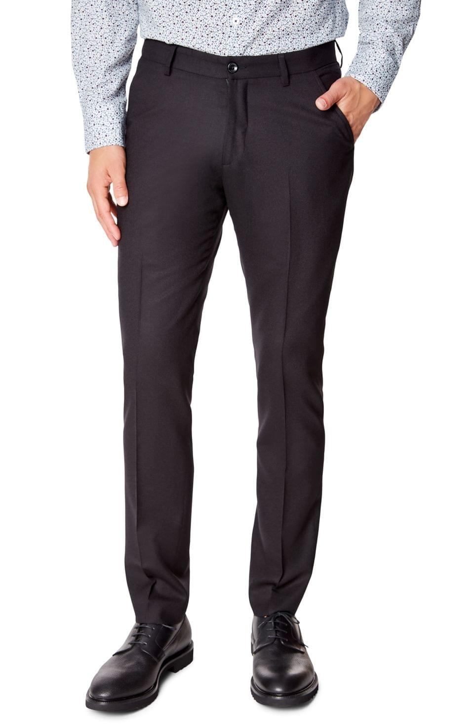 Men's Good Man Brand Flat Front Solid Wool Dress Pants