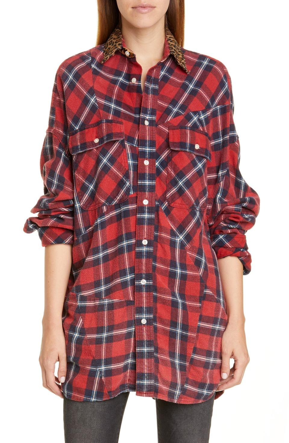 Women's R13 Patchwork Plaid Shirt with Leopard Print Collar