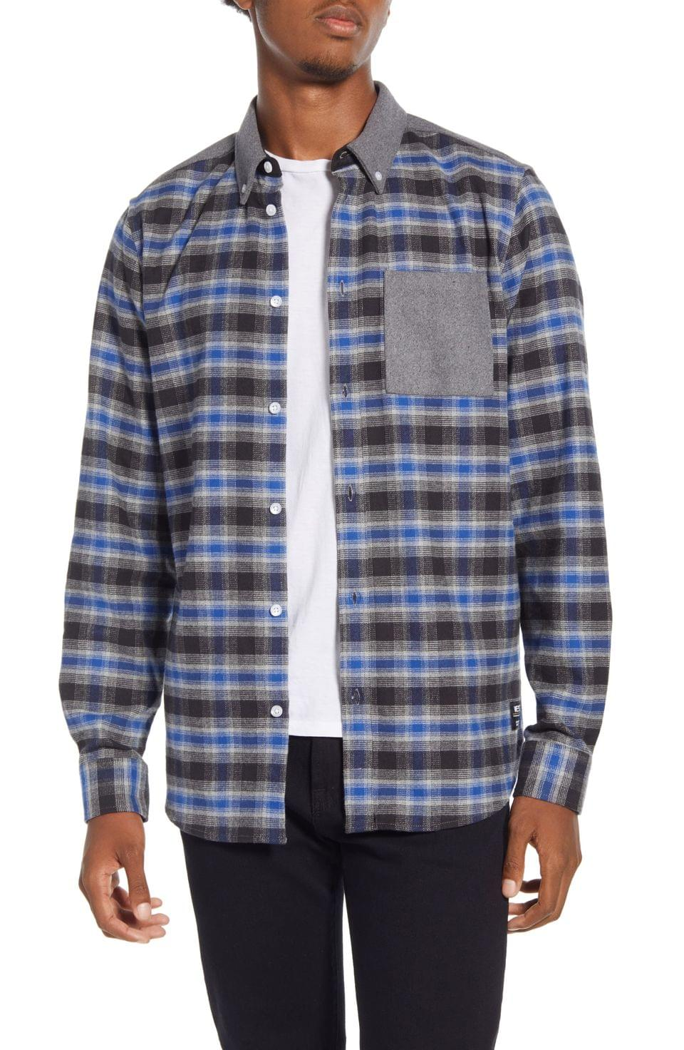 Men's WeSC Olvai Regular Fit Shadow Plaid Button-Down Flannel Shirt