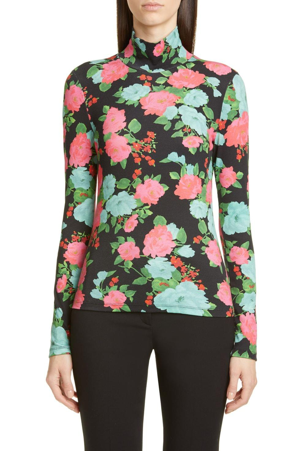 Women's Erdem Floral Print Ribbed Turtleneck Top