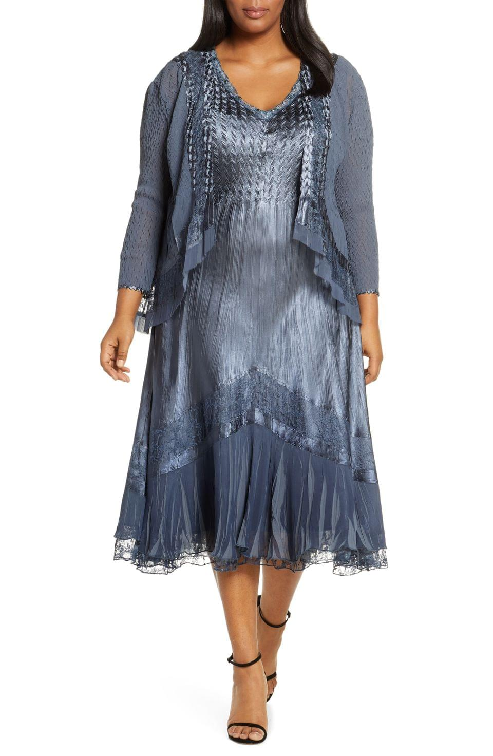 Women's Komarov Lace Inset Dress with Jacket (Plus Size)