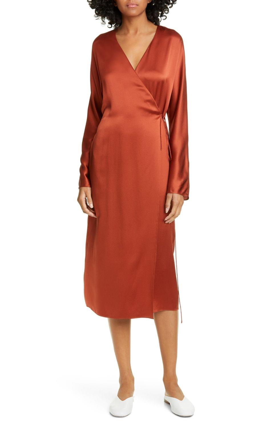 Women's Vince Long Sleeve Silk Wrap Dress
