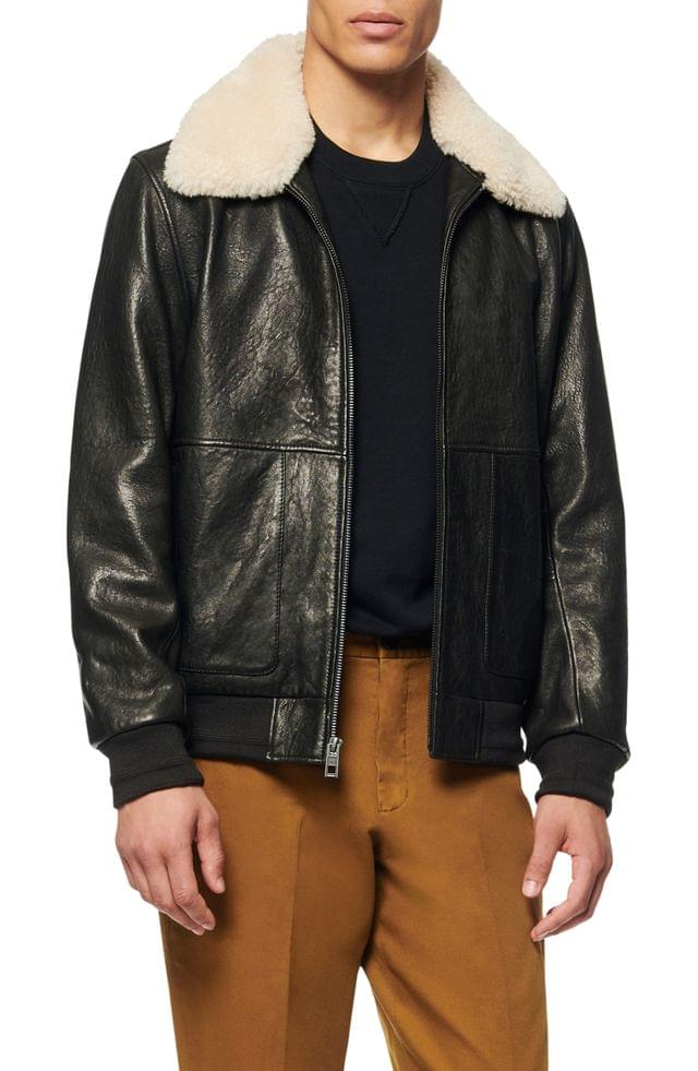 MEN Andrew Marc Cuthbert Leather Bomber Jacket with Removable Genuine Shearling Collar