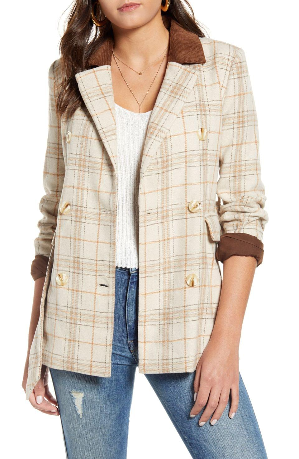 Women's J.O.A. Check Print Double Breasted Jacket