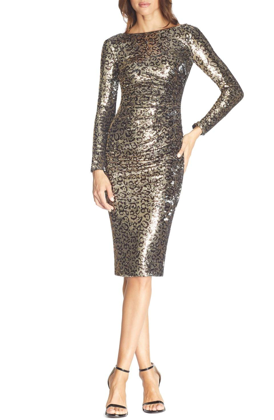 Women's Dress the Population Emilia Leopard Sequin Long Sleeve Cocktail Dress