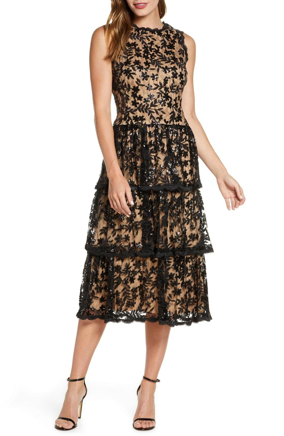 Women's Taylor Dresses Sequin Floral Lace Embroidered Dress
