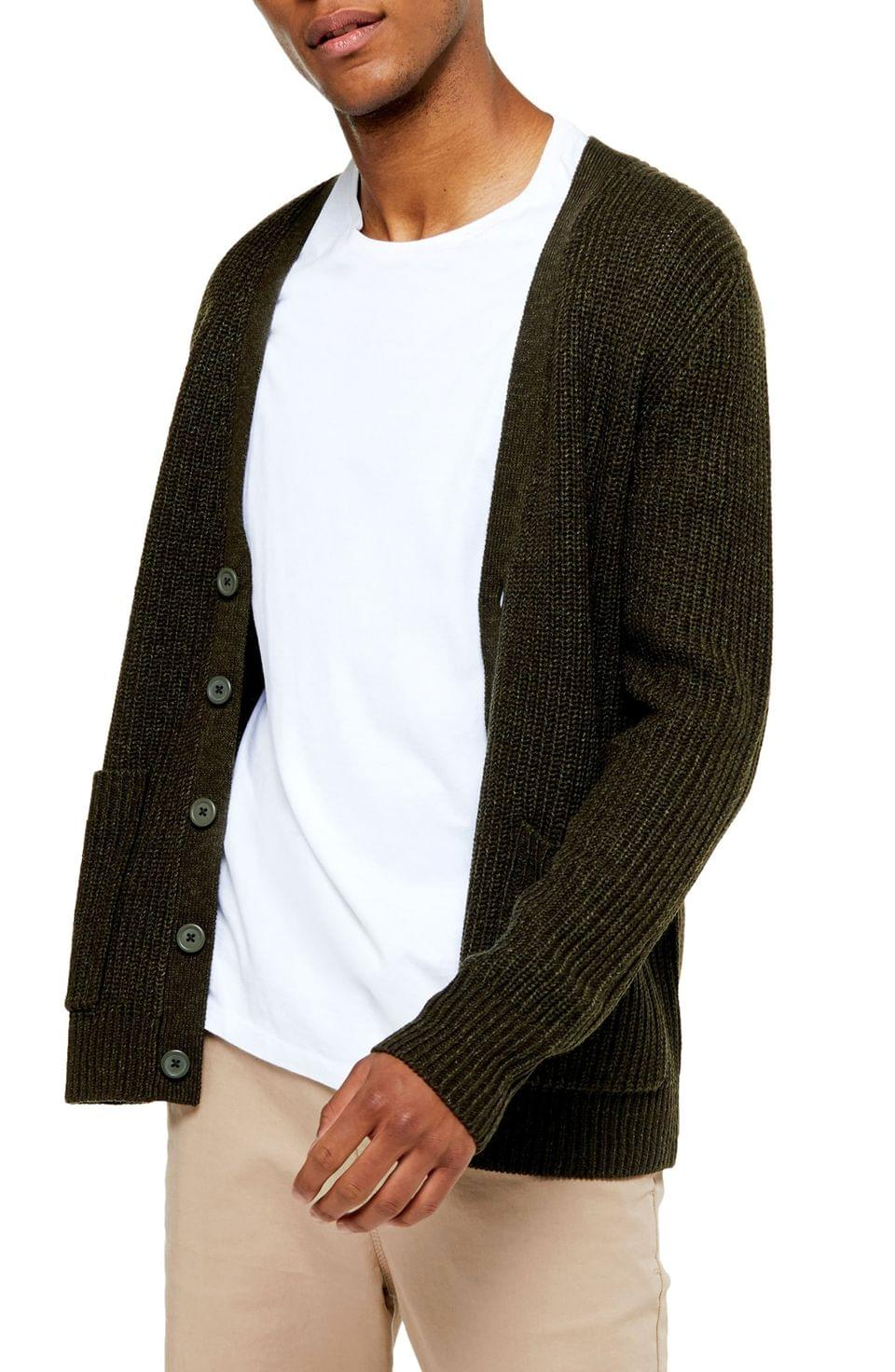 Men's Topman Rack Textured Cardigan Sweater
