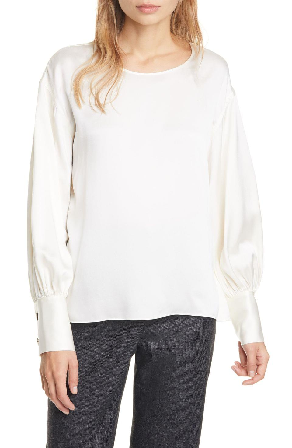 Women's Club Monaco Long Blouson Sleeve Silk Top