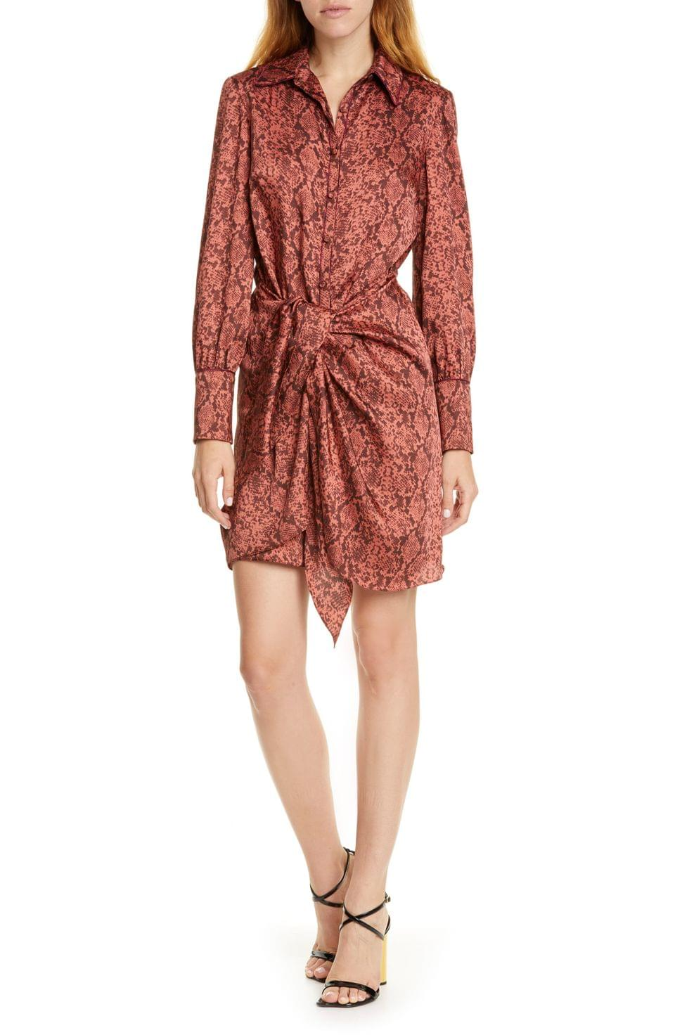 Women's Cinq Sept Gaby Python Print Long Sleeve Shirtdress
