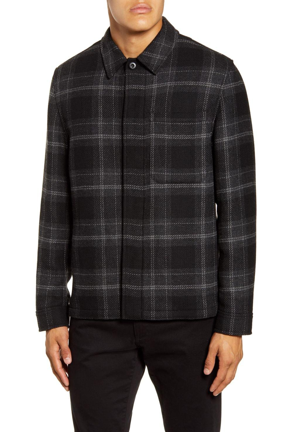 Men's Vince Classic Fit Plaid Flannel Shirt Jacket