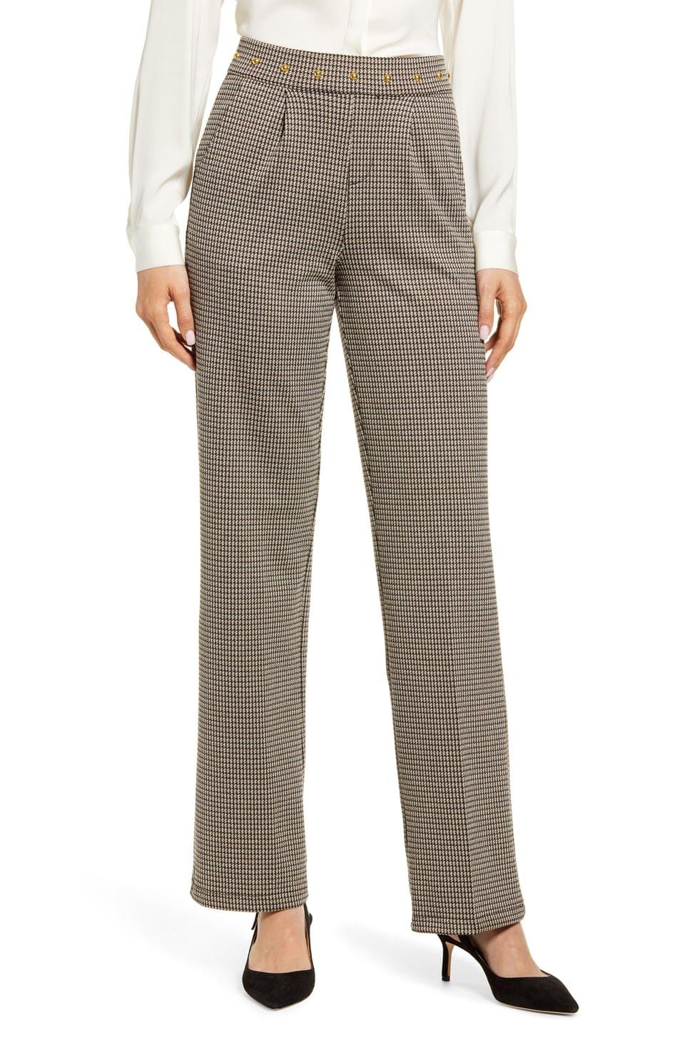 Women's Hue Studded Waist Check Wide Leg Pants