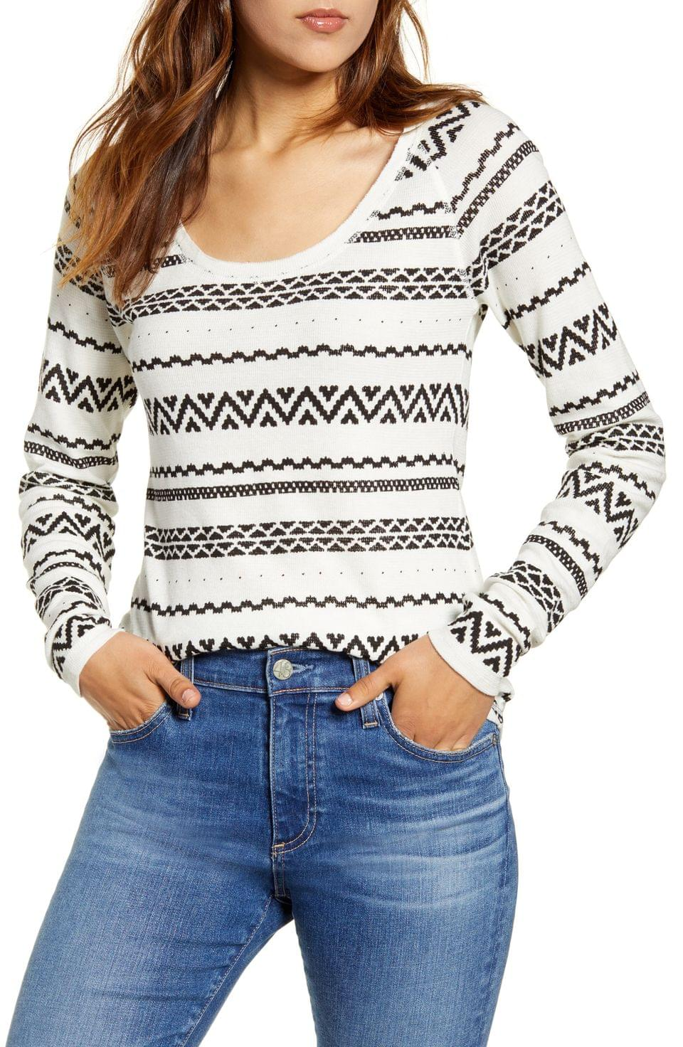 Women's Lucky Brand Graphic Print Cotton Thermal Top