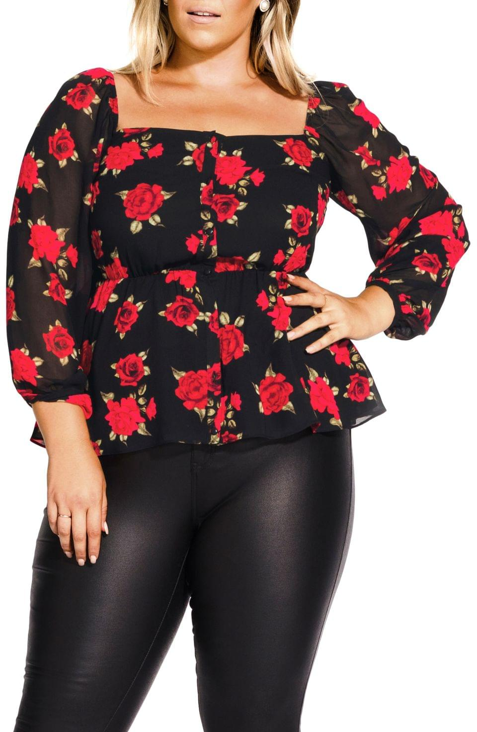 Women's City Chic Floral Passion Top (Plus Size)