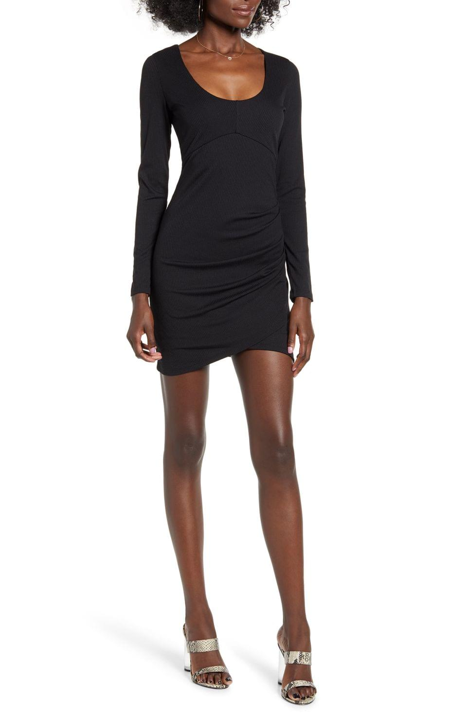 Women's Row A Long Sleeve Ruched Ribbed Body-Con Dress