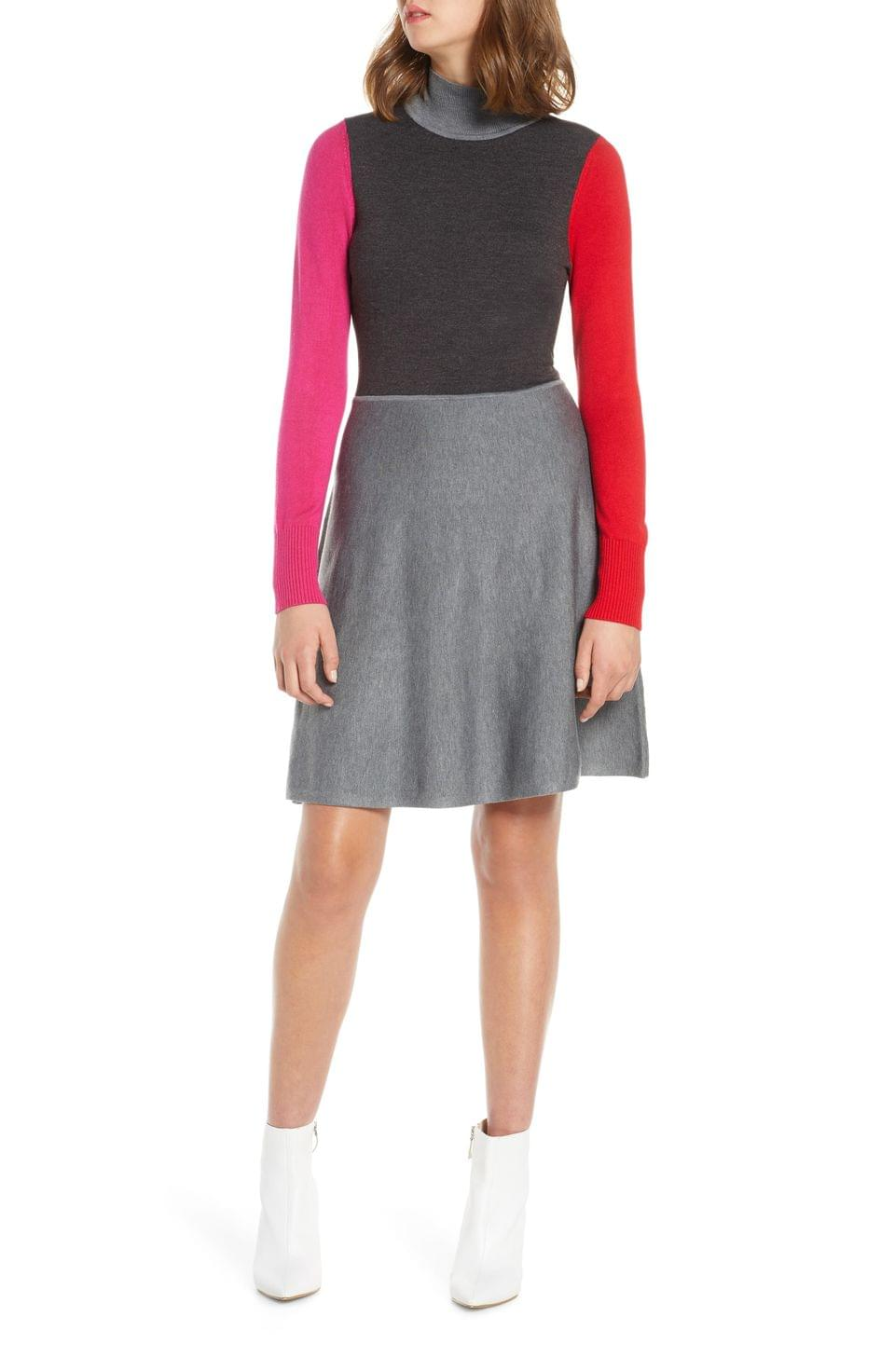 Women's Eliza J Colorblock Long Sleeve Fit & Flare Sweater Dress (Regular & Petite)
