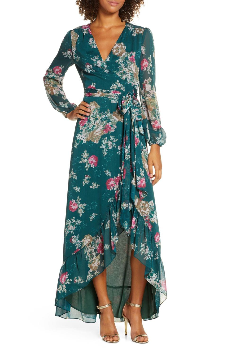 Women's WAYF The Meryl Floral Long Sleeve Wrap Gown