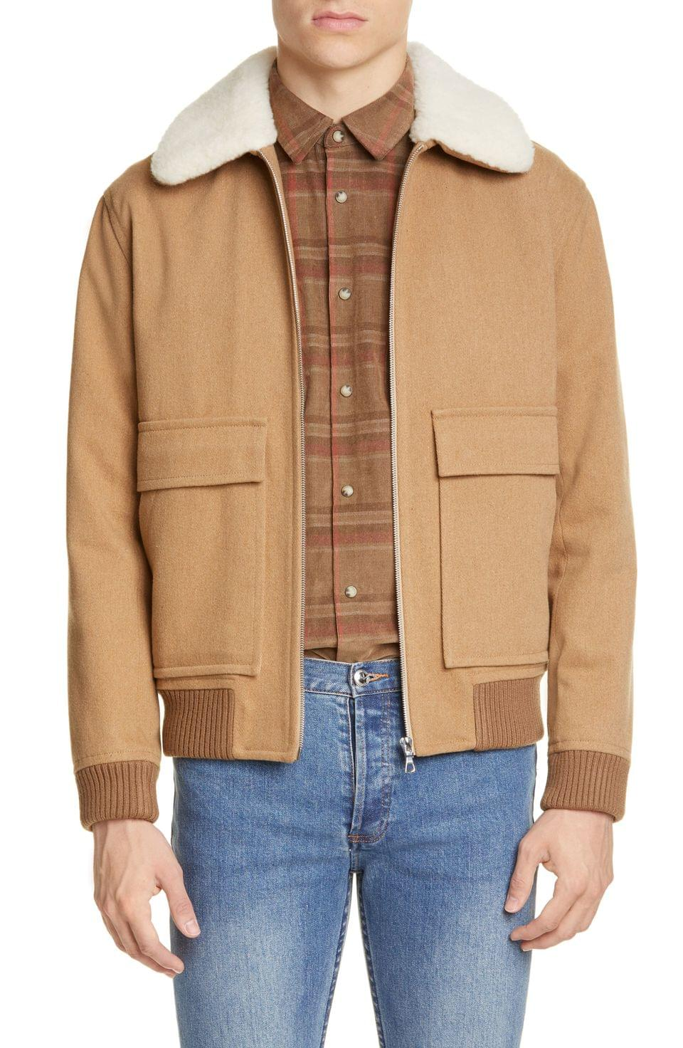 Men's A.P.C. Jacket Twill De Laine Melange Aviator Jacket