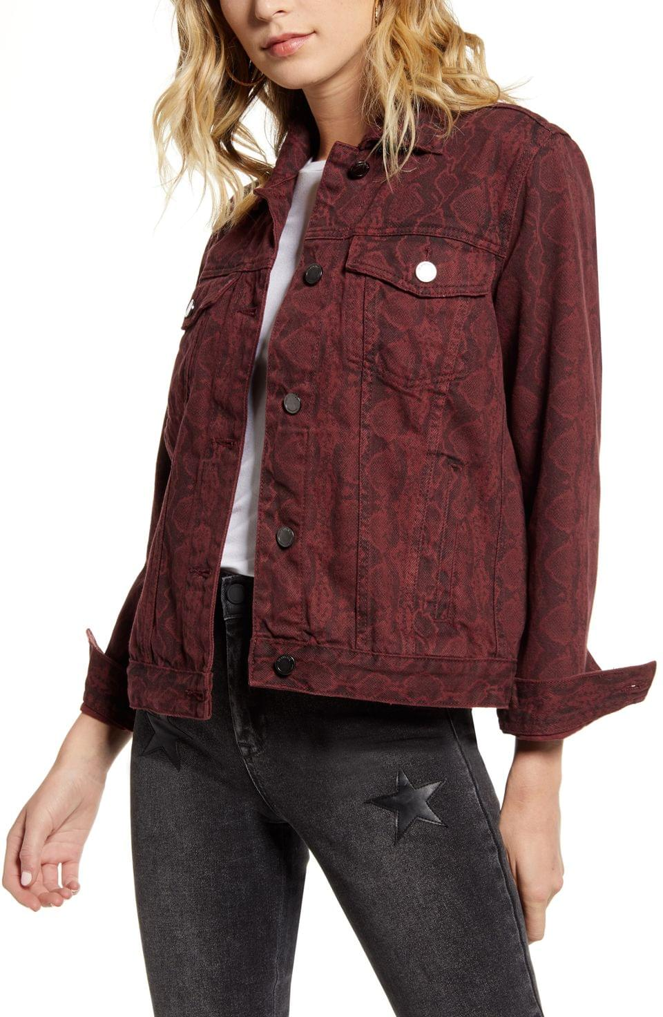 Women's BLANKNYC Snake Print Denim Jacket
