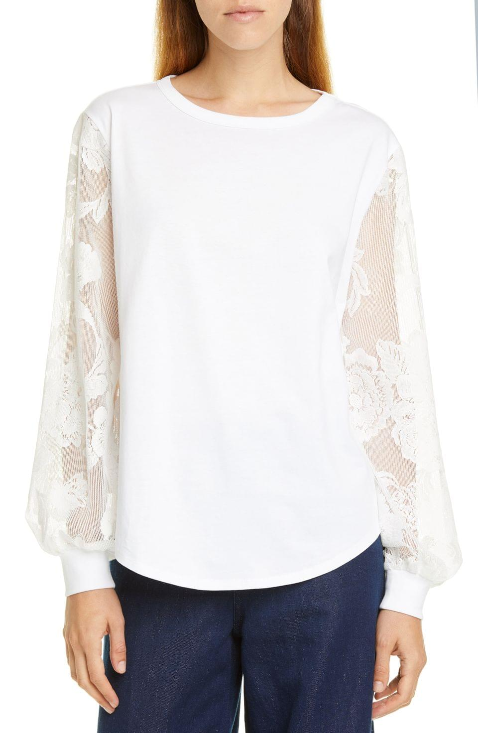 Women's See by Chlo Floral Sleeve Cotton Top