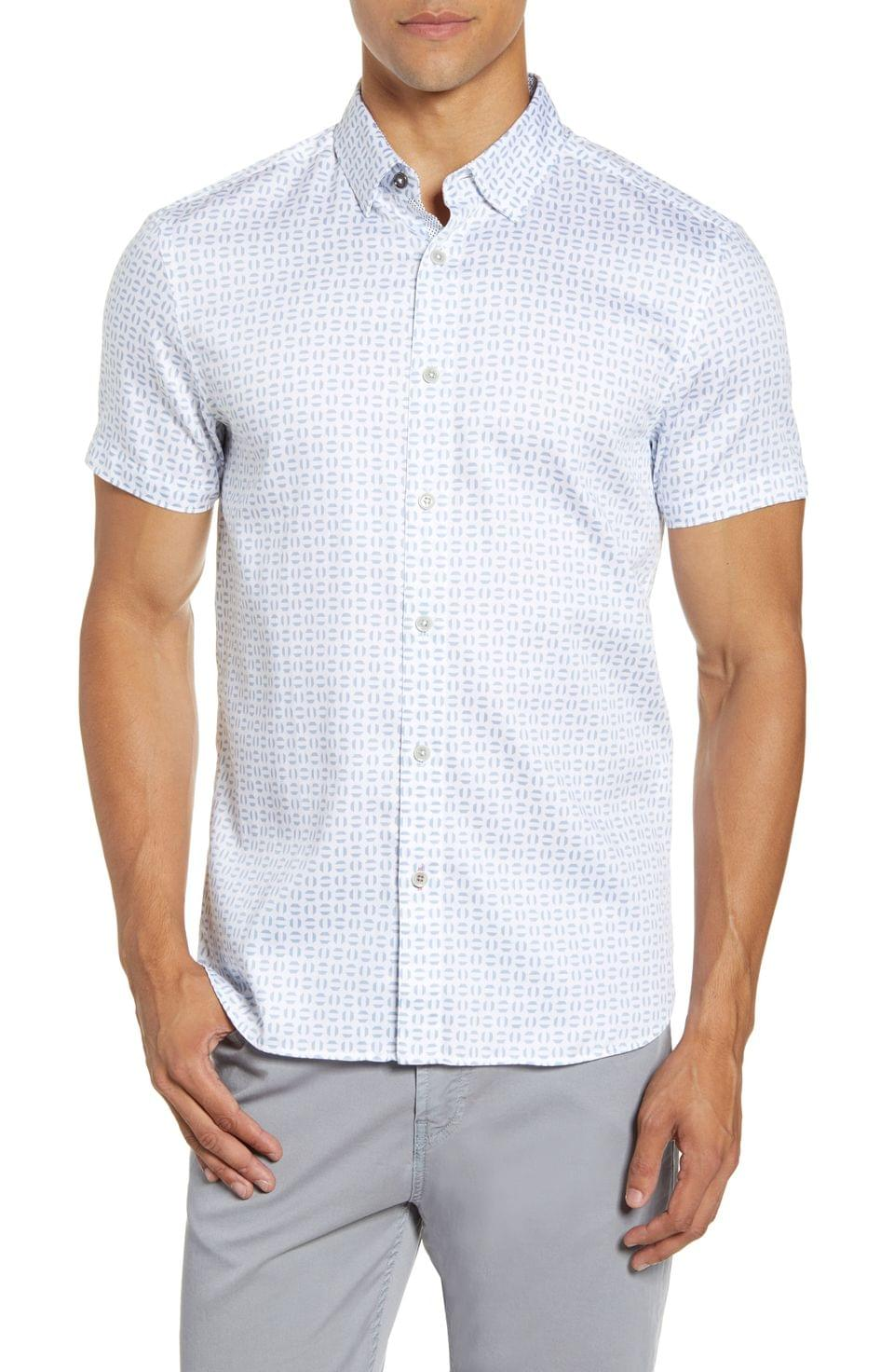 Men's Ted Baker London Slim Fit Geo Print Short Sleeve Button-Up Shirt