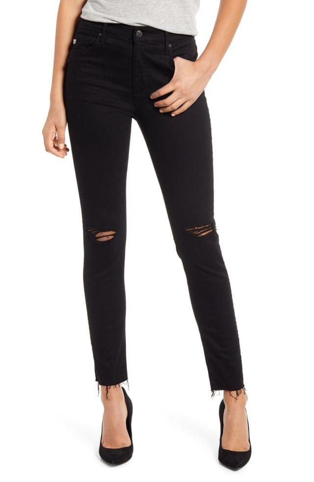 WOMEN AG The Farrah High Waist Ankle Skinny Jeans (1 Year Midnight Black Destroyed) (Nordstrom Exclusive Color)