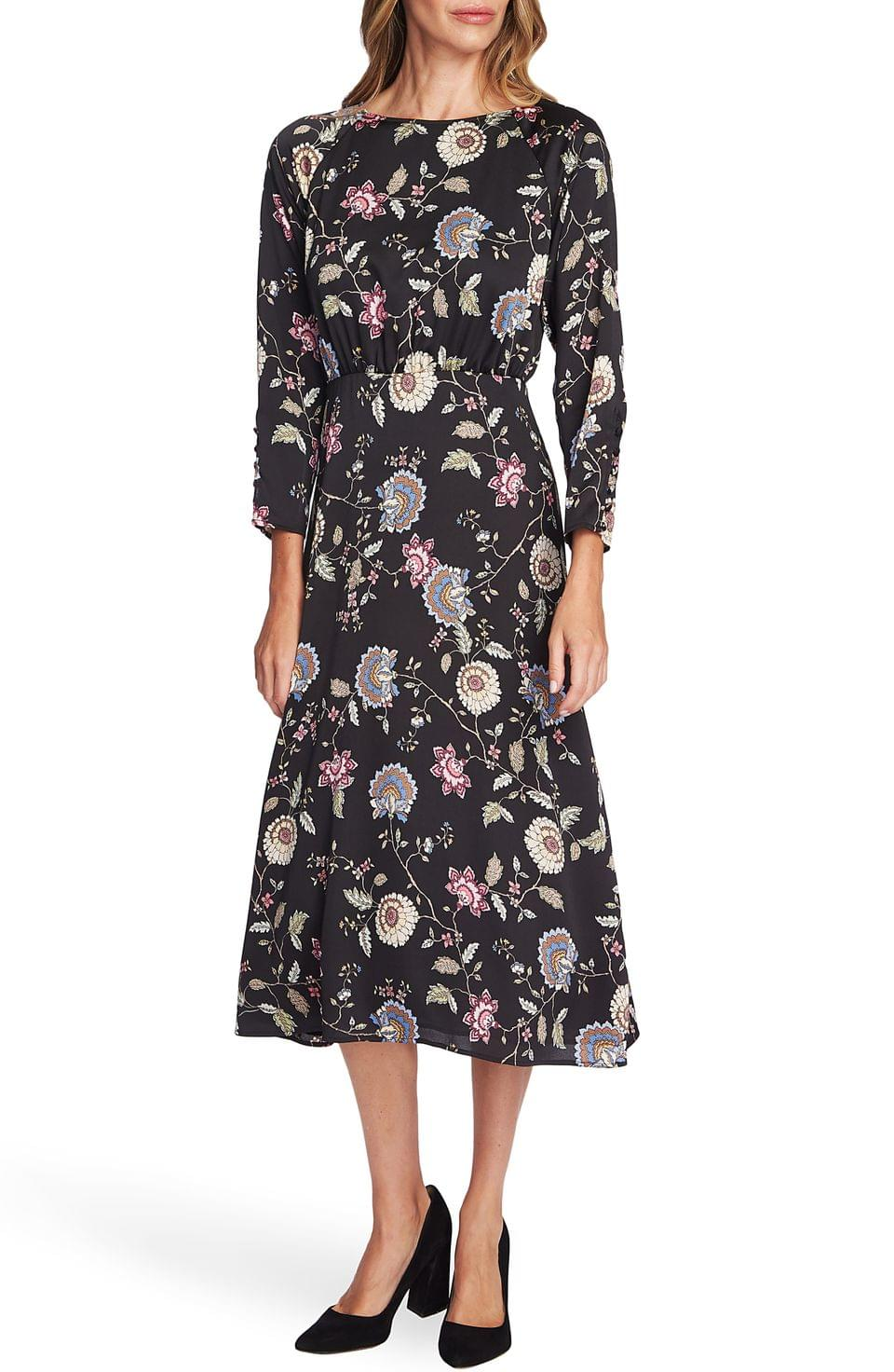 Women's Vince Camuto Windsor Floral Long Sleeve Midi Dress