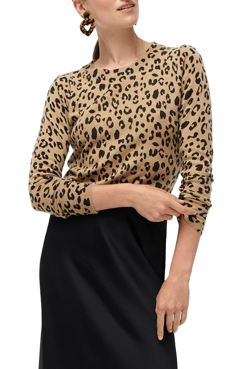 Women's J.Crew Leopard Print Long Sleeve Everyday Cashmere Crewneck Sweater (Regular & Plus Size)