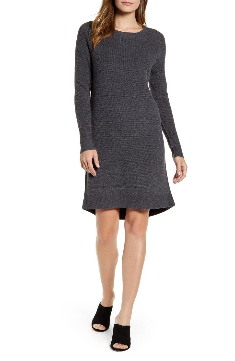 Women's Caslon Long Sleeve Thermal Stitch Sweater Dress