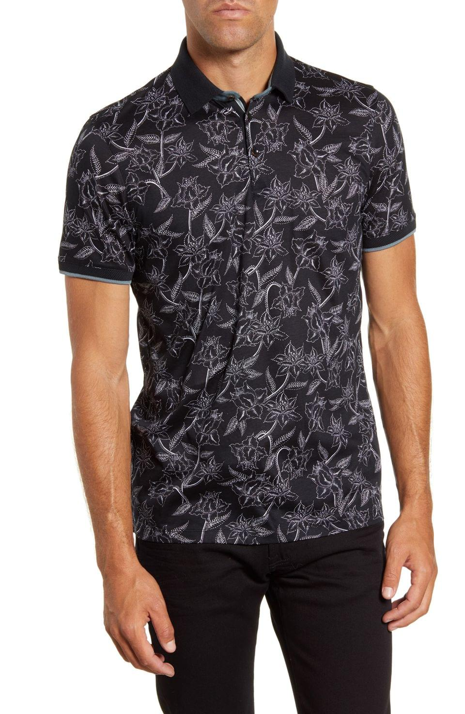 Men's Ted Baker London Slim Fit Linear Floral Print Polo