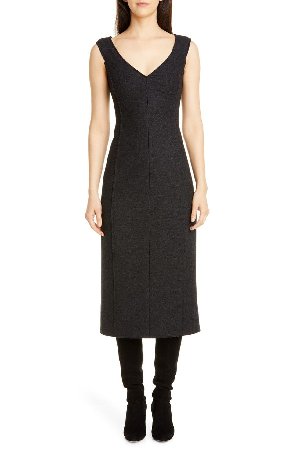 Women's Theory Paneled Sleeveless Wool Midi Dress