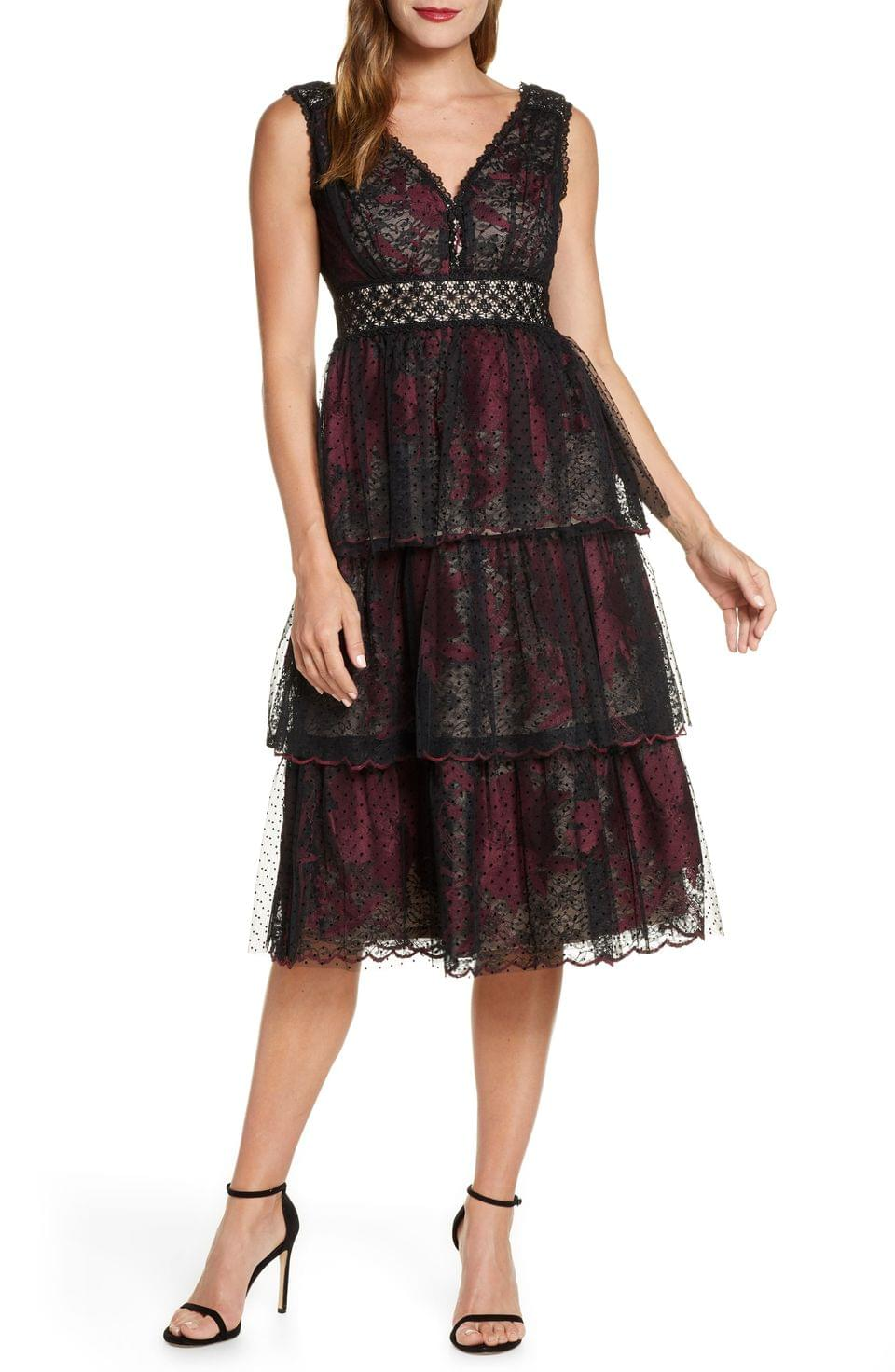 Women's Taylor Dresses Tiered Lace Midi Dress