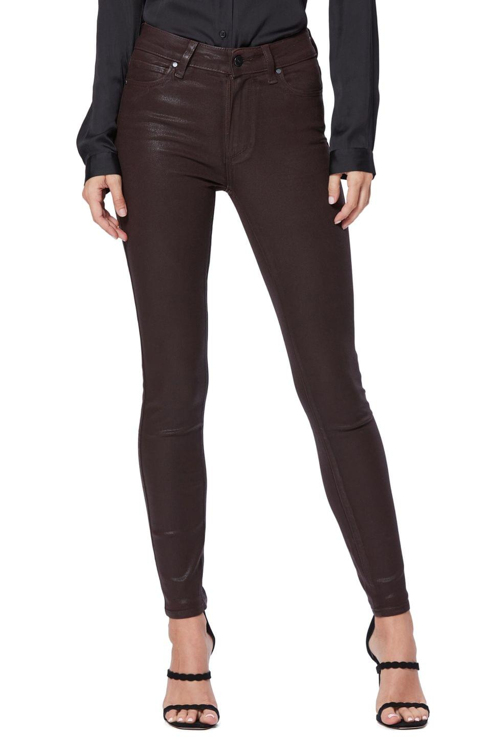Women's PAIGE Transcend - Hoxton Coated High Waist Skinny Jeans (Chicory Coffee Luxe Coating)