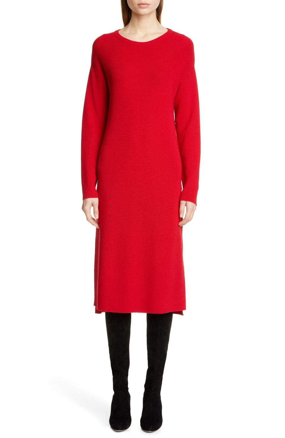 Women's Fuzzi Side Button Long Sleeve Midi Sweater Dress