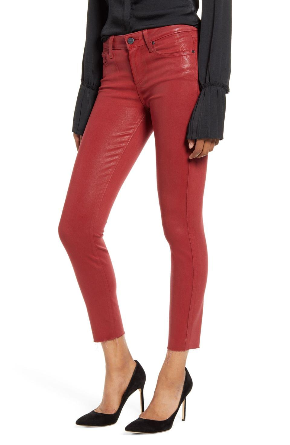 Women's PAIGE Transcend - Verdugo Coated Ankle Skinny Jeans (Ruby Rouge Luxe Coating)