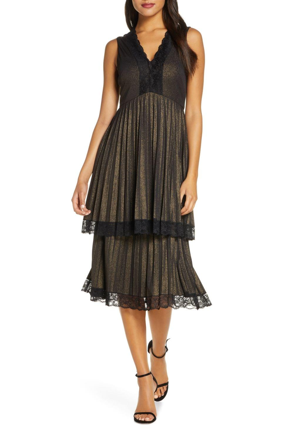 Women's Taylor Dresses Pleated Double Tiered Dress