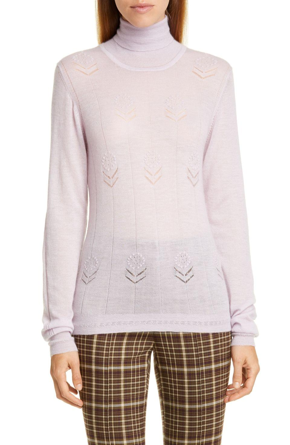 Women's Adam Lippes Floral Pointelle Cashmere Sweater