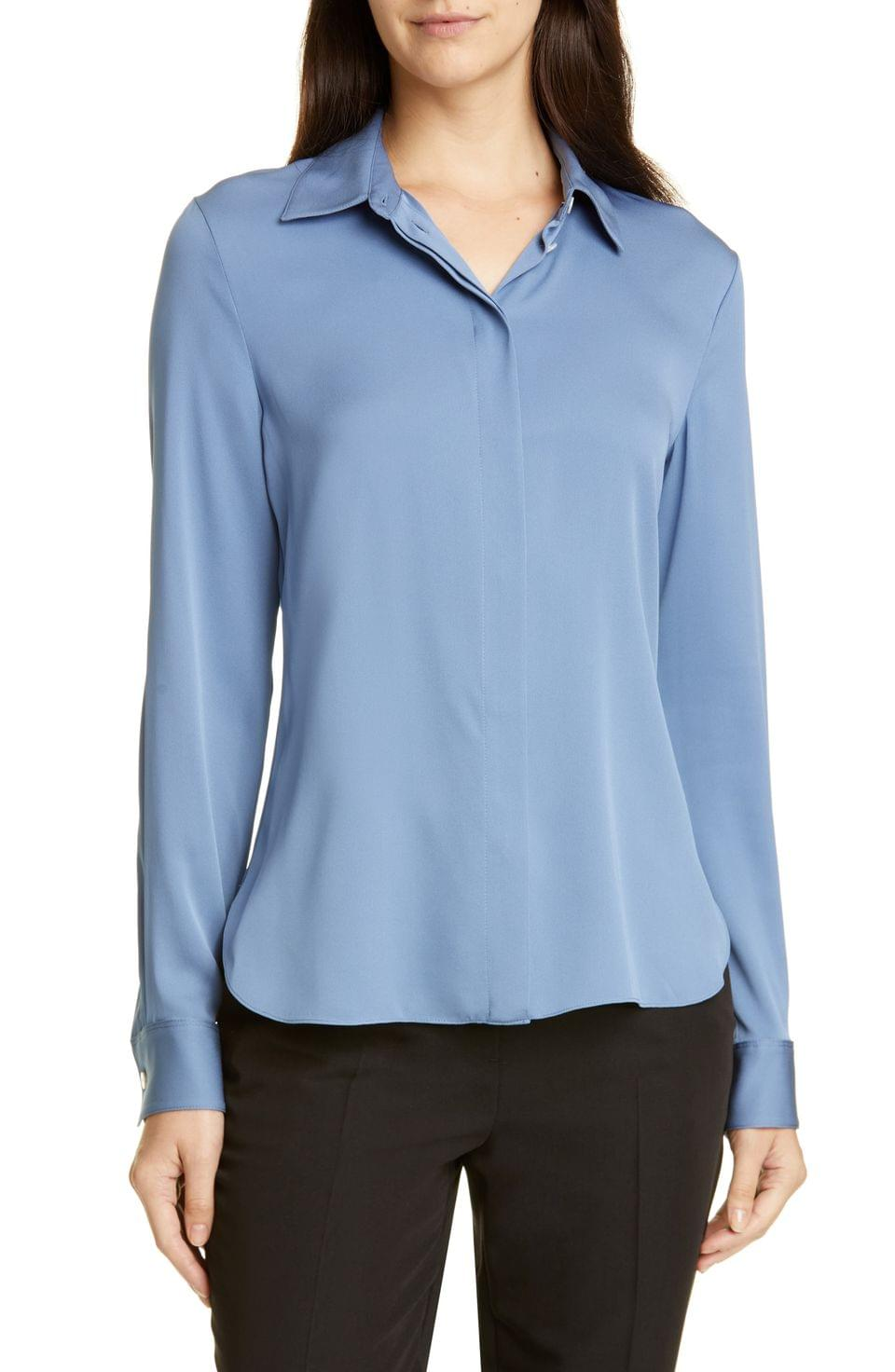 Women's Theory Classic Fitted Stretch Silk Shirt