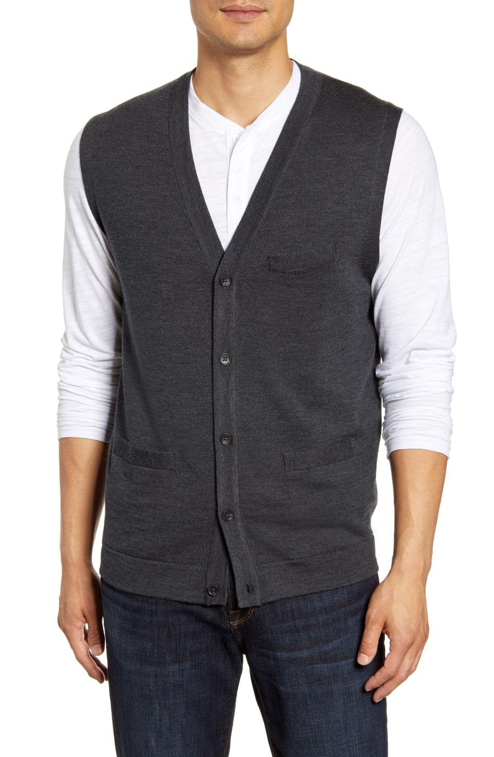 Men's Nordstrom Men's Shop Merino Button Front Sweater Vest