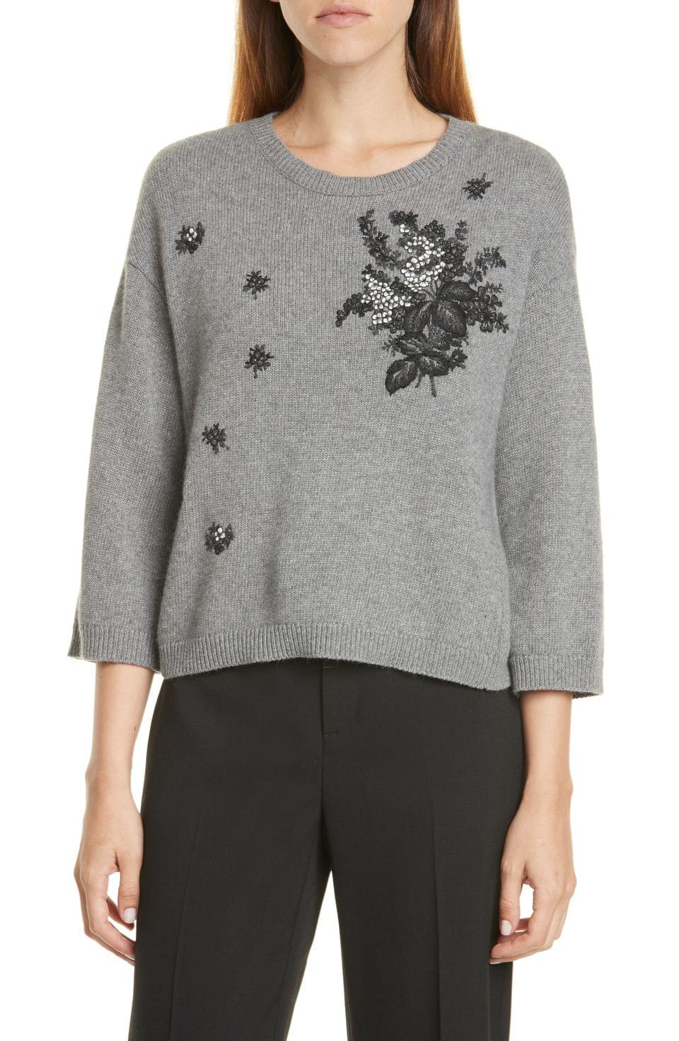 Women's RED Valentino Floral Embroidered Sweater