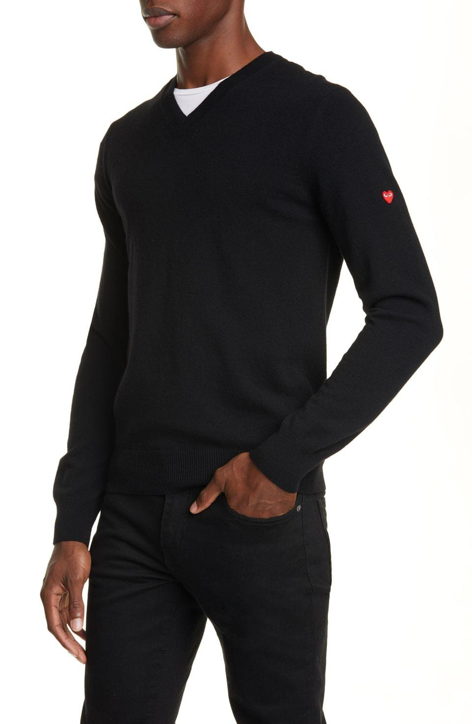 Men's Comme des Gar ons PLAY V-Neck Wool Sweater