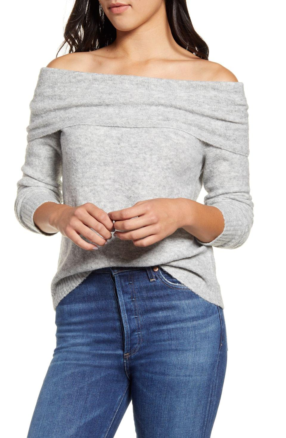 Women's Press Off the Shoulder Sweater