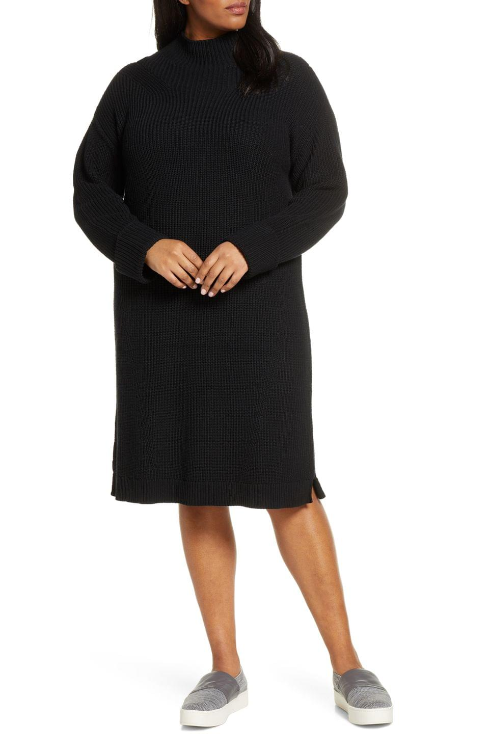 Women's Caslon Ribbed Sweater Dress (Plus Size)