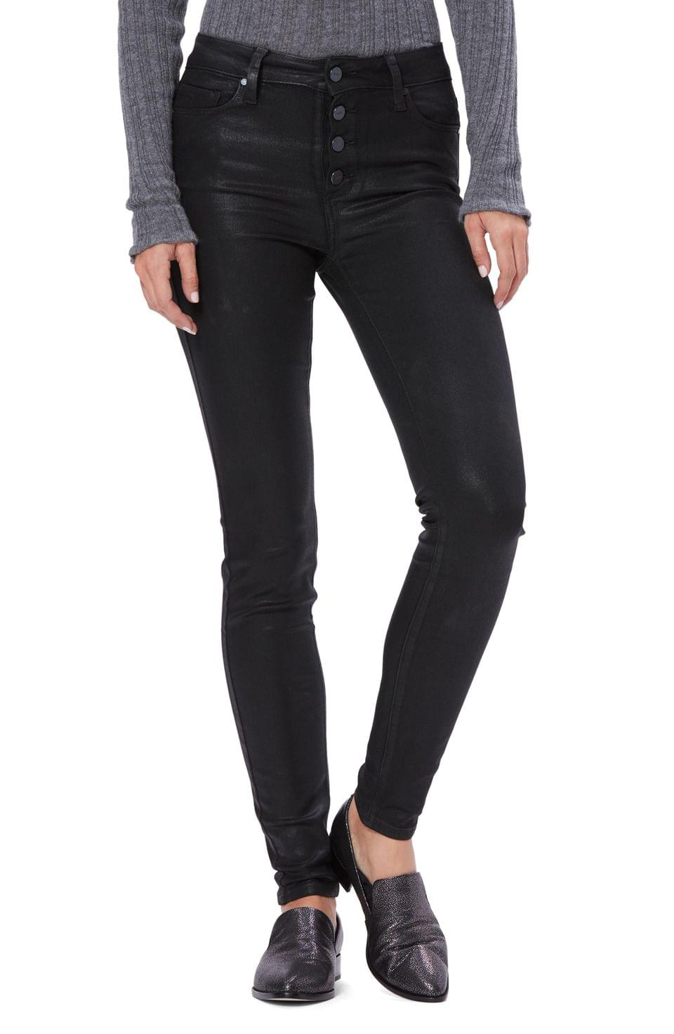 Women's PAIGE Transcend - Hoxton Coated High Waist Ultra Skinny Jeans (Black Fog Luxe Coating)