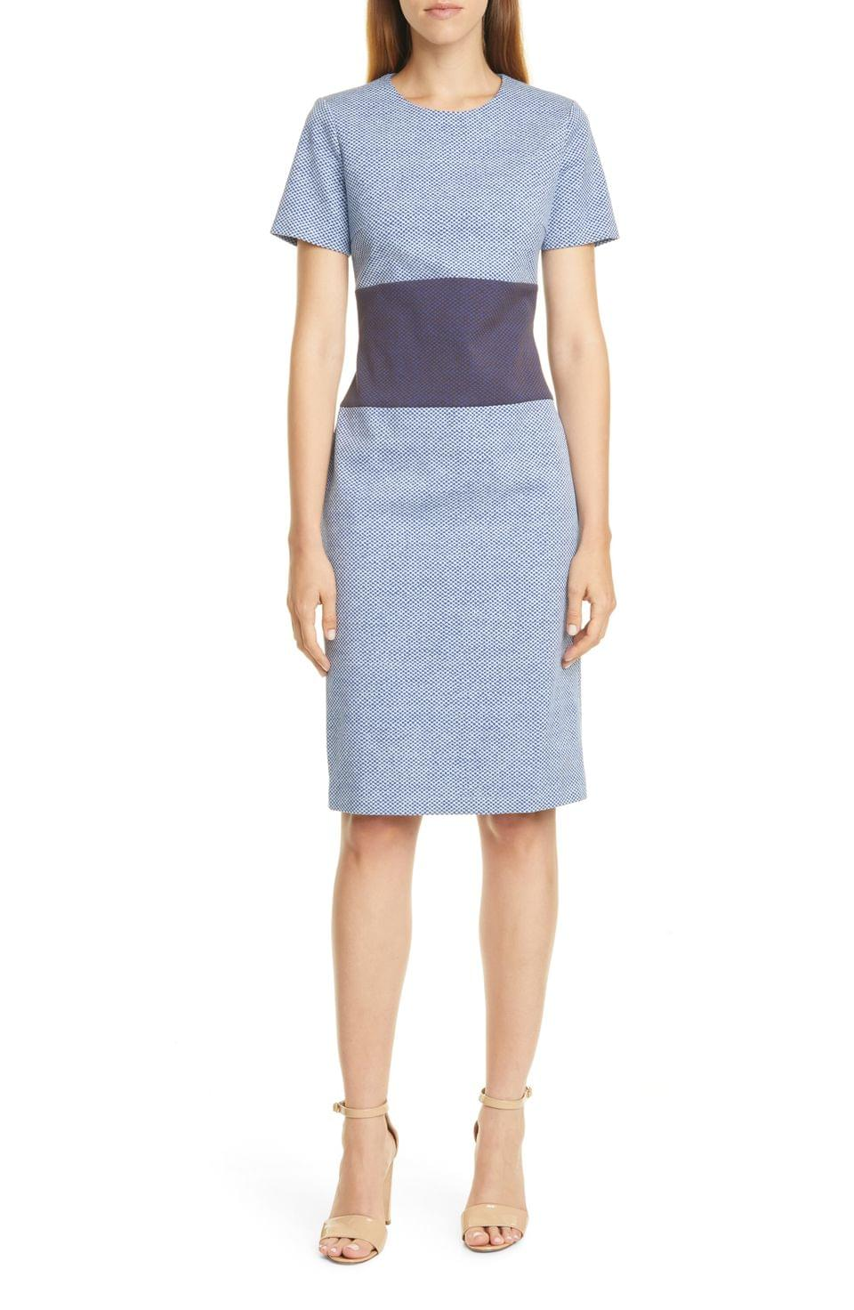 Women's BOSS Damalara Textured Check Colorblock Dress