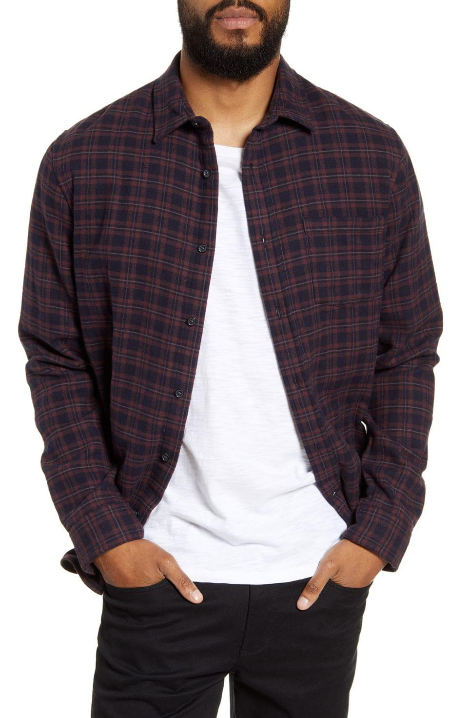 Men's Vince Classic Fit Plaid Button-Up Shirt