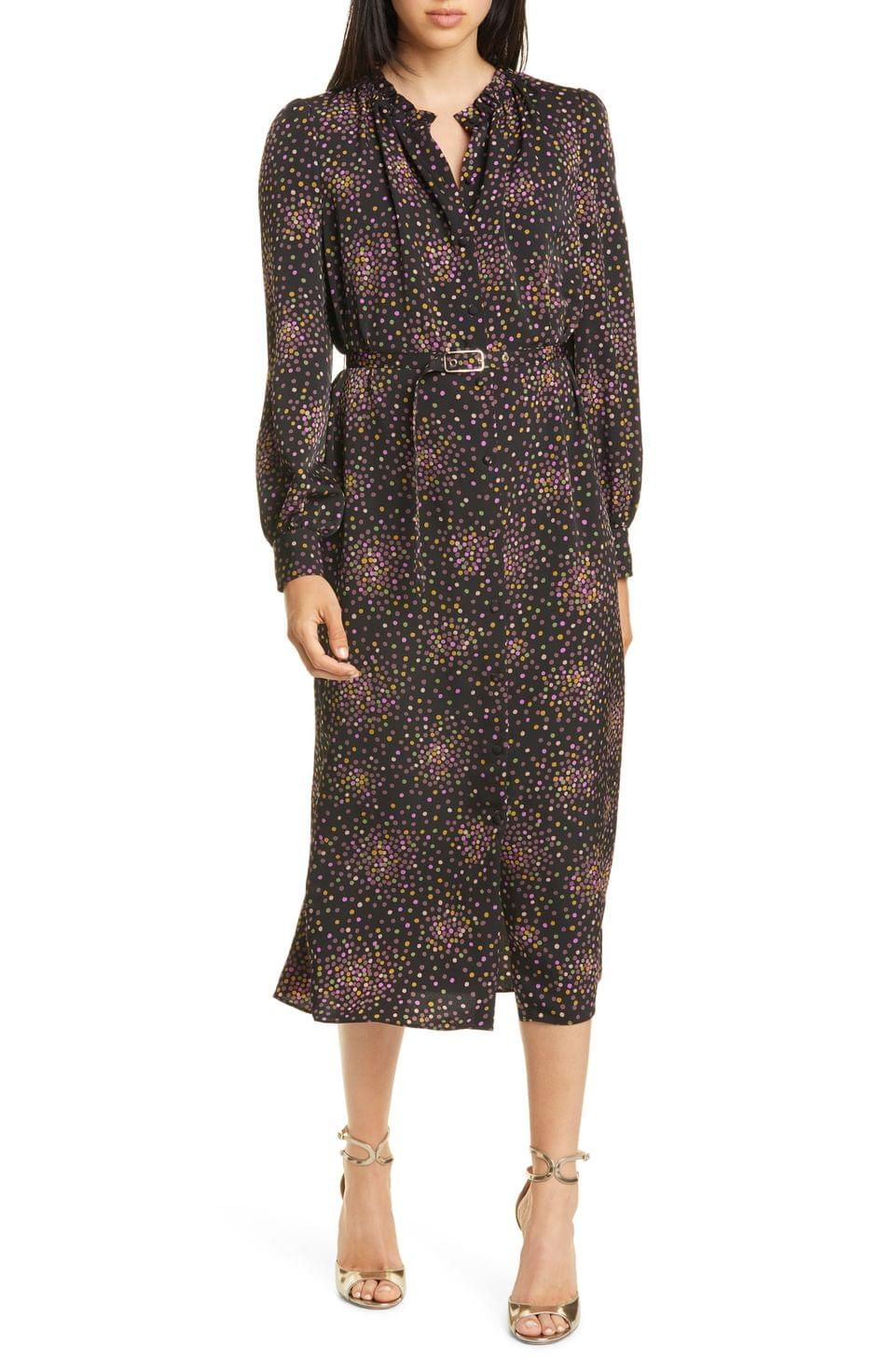 Women's kate spade new york disco dots long sleeve midi dress