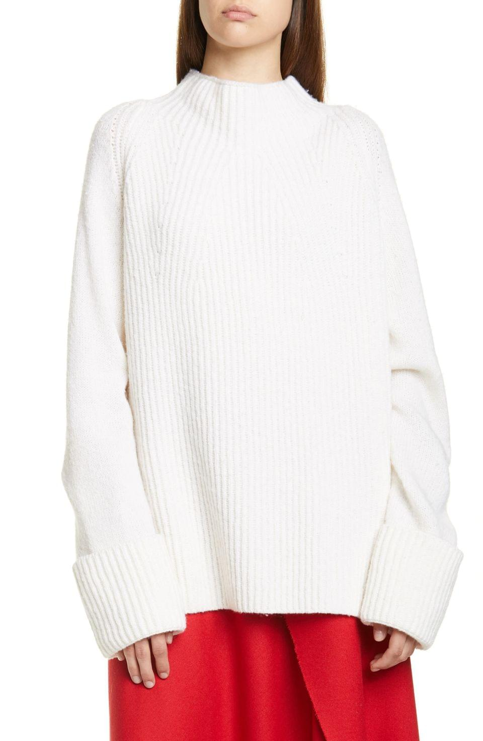 Women's Vince Mix Stitch Funnel Neck Wool Sweater