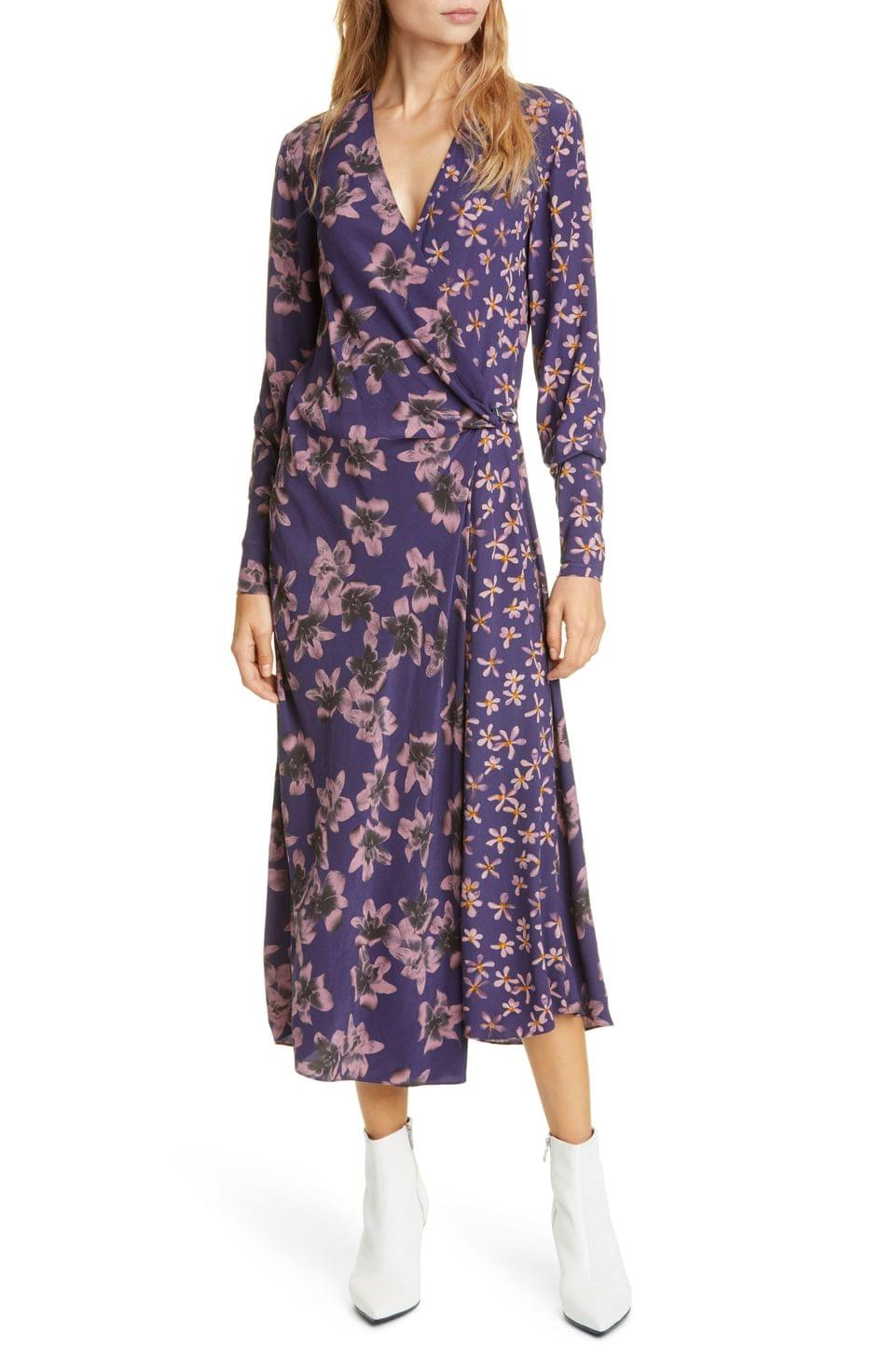 Women's rag & bone Odette Floral Print Long Sleeve Midi Dress