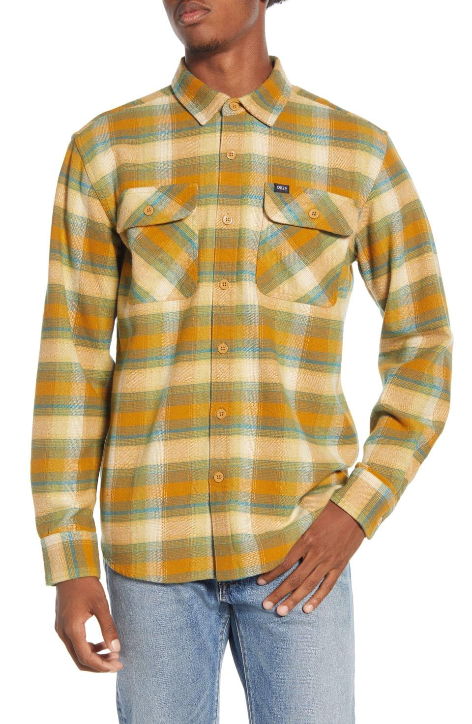 Men's Obey South Pass Plaid Button-Up Flannel Shirt