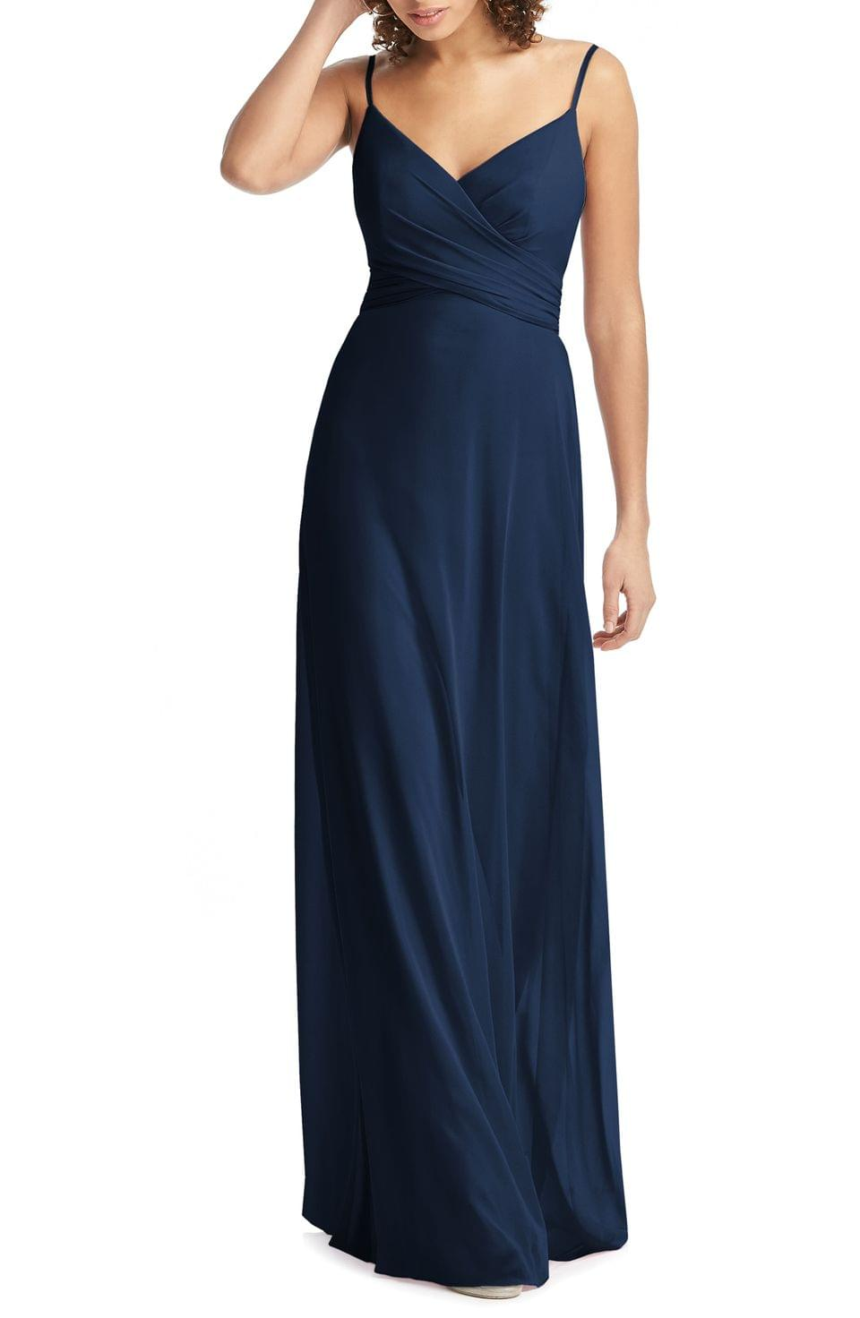 Women's Social Bridesmaids Crossover V-Neck Chiffon Trumpet Gown